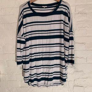 Women's Striped 3/4 Wing Sleeve Tunic Tee